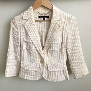 LIDA BADAY Ivory Textured Cropped Blazer Size 8